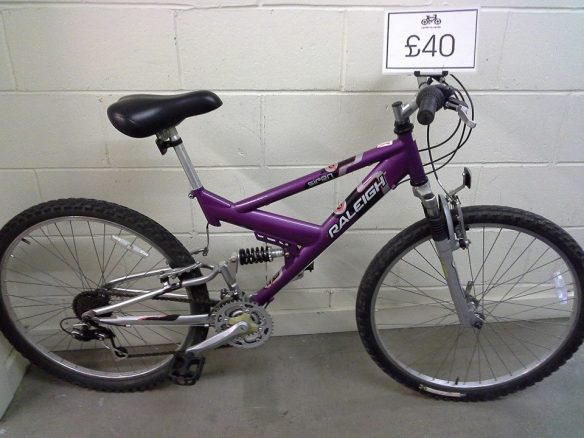 Bikes currently available at Garden Mills Bike Hub. Raleigh Full Suspension ladies mountain bike. 26 inch wheels. £40. Stock no 1087